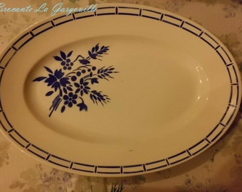 Flat oval or roast Badonviller earthenware dish
