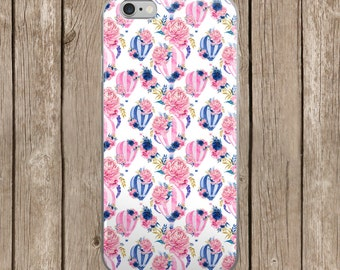 White Background with Pink and Navy Balloons iPhone Case   iPhone 5/5s/SE   iPhone 6/6s   iPhone 6 Plus/6s Plus    iPhone 7   iPhone 7 Plus