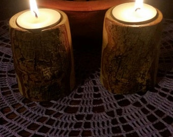 Hand turned wooden candlestick holders