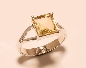 Natural Citrine Ring Faceted Ring Sterling Silver Ring Citrine Gemstone Ring 925 Solid Sterling Silver Ring Citrine Square Ring Size 7 E-846