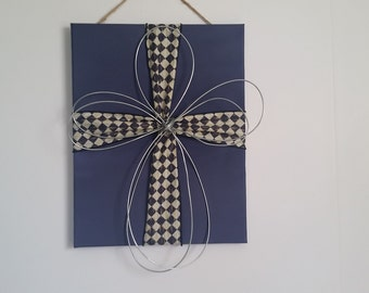 Painted canvas with fabric and Hand wrapped wire cross