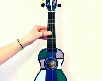Hand painted wooden soprano ukulele with original design