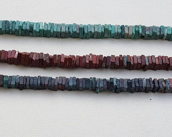 2 strands of CUPPRIC CHRYSOCOLLA SQUARES 4-6mm 8""