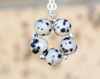 Jasper necklace - Dalmation Jasper - black and white jasper - Jasper jewelry - gemstone necklace - beaded pendant - silver chain