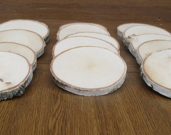 "10 Wood slices, birch slices, 5.5""-6.5'', Table decor,Wood decor,Rustic wedding decor,Wood slabs,plate coasters,Natural Wood Slices, coaster"