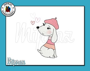 Embroidery Dog - Dog with hearts - File - Machine embroidery design