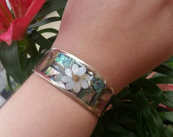 Vintage Sterling Silver Abalone and Mother of Pearl Flower Cuff Bracelet