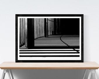 Shadow Tracks Abstract Minimalist Street Photography Black and White Geometric Light Pattern Downloadable Digital Wall Art Decor