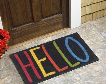 """Colorful Hello Coir Doormat (18""""x30"""")"""