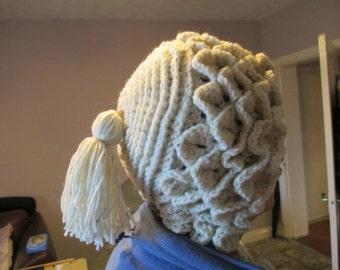 Ladies Hand Crocheted Crocodile Stitch Capuche Hood/Hat