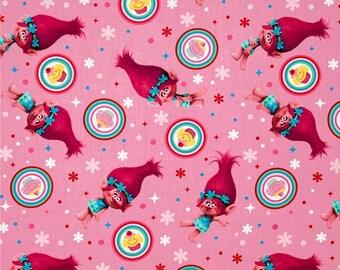 Trolls Fabric - Dreamworks Trolls 59740 Poppy Cupcake Toss 100% Cotton fabric by the yard, SC379