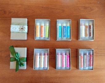 Organic Lip Balm Sampler Set - Box of 3 lip balms. natural lip care. natural chap stick.
