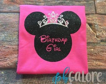 Ladies Birthday Minnie Glitter | Disney Shirt | Princess Minnie Mouse | Disney Princess | Minnie Birthday | Disney Vacation | Adult tee