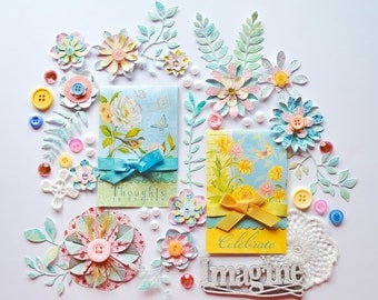 Pastel Pink, Blue & Yellow Cardmaking/Scrapbook Embellishments Kit - Handmade Flowers, Leaves, Journal, Lace Flowers, Chipboard - Easter