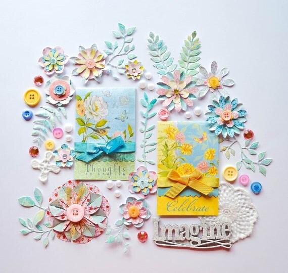Pastel Pink, Blue & Yellow Cardmaking/Scrapbook Embellishments Kit - Handmade Flowers, Leaves, Journal, Lace Flowers, Chipboard - Easter. This precious scrapbooking/cardmaking kit in pastel blue, yellow, and pink would be perfect for Easter, or a new baby.