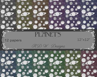 PLANETS, digital paper, scrapbooking, digital art, 12x12, 12 papers, personal use, commercial use