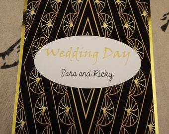Wedding Card - Art Deco/1920s/Black and Gold/Simple/Personalised option available