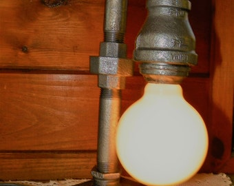 Handcrafted Industrial Pipe Lamp steampunk style with vintage globe bulb