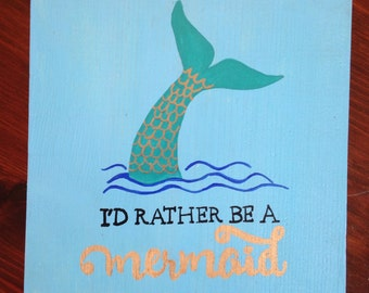 Mermaid hand painted sign
