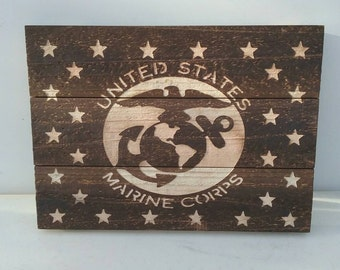 Wooden cedar plaque wall decor, U.S.M.C. edition, burn destressed and hand etched.