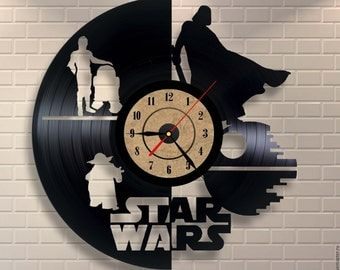 Star Wars Wall Clock Made Of Vinyl Record -more designs in photo gallery! we can produce any design, any shape custom made