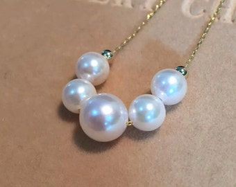 """Genuine hallmarke18ct/18k yellow gold and 7-9mm white Akoya pearl necklace 40-45cm/16""""-18""""(length adjustable)"""