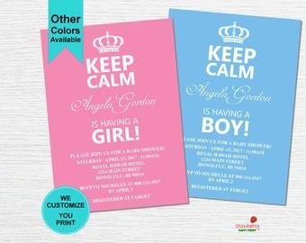 Keep Calm Baby Shower Invitation, Keep Calm Invitation, Royal Baby Shower Invitation, C31