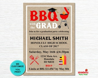 Graduation BBQ Invitation. Backyard BBQ. Barbeque Party Cookout Invitation. Summer Cookout. Printable Invitation. G11
