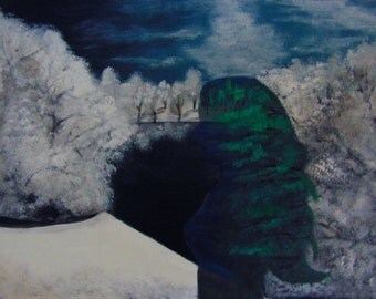 "Acrylic Painting, ""Polar Opposites"" ,18x22 Masonite Board"