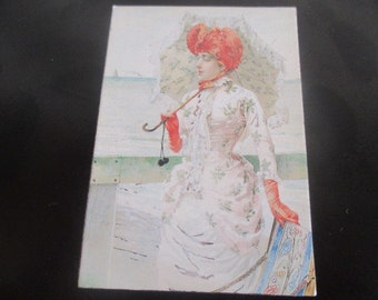 """Pomegranate Publications Rectangle Refrigerator Magnet Vittorio Matteo Corcos Lady at Seaside Resort Printed in Korea 3 1/4"""" x 2 1/4"""""""
