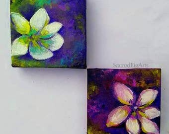 set of paintings, pair of paintings, two painting set, mini canvas painting, flower painting, small art gift, feminine art, floral wall art