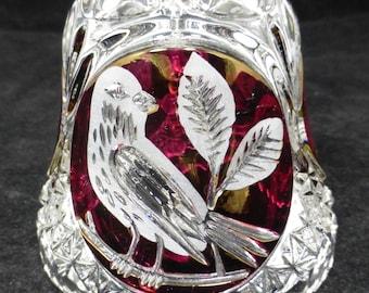 Hofbauer Byrdes Bird Ruby Red Crystal Glass Bell - 22 cm high – vintage – German