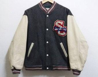 Vintage varsity jacket scene boys leather spellout /basebal/hiphop/large