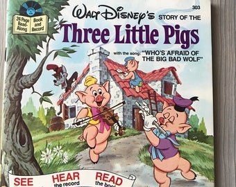 Vintage Walt Disney Three Little Pigs Book and Record Read-Along 33 rpm
