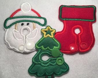 Christmas g tube pads/g tube pads/christmas 3 pack/santa g tube pad/stocking g tube pads/christmas g tube pad/tubie cover