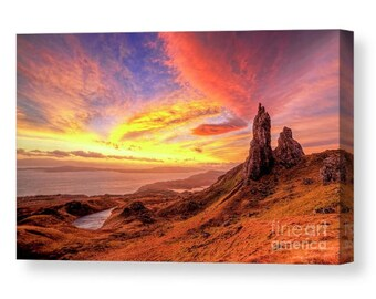 Signed Canvas print of The old man of Storr Isle of skye mountain monroe scotland highlands present art photography giclee glencoe stor uk