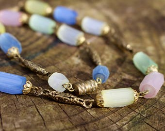 Vintage Beaded Necklace with Frosted Glass Beads in Sorbet Colours.