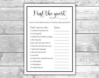 DIGITAL FILE - Find the Guest - Bridal Shower Games - Black and White, Printable, Activities, Bachelorette, BW1001