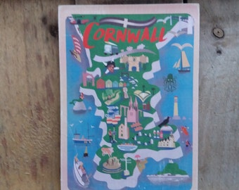 Cornish towns  wooden postcard