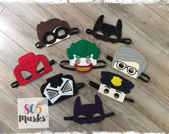 Lego Super Hero Inspired Masks, Kids Masks, Kids Costumes, Lego Mask,  Batman Mask, Spiderman Mask, Lego Birthday Party favors