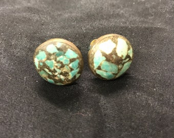 Vintage Turquoise Screw Back Clip On Earrings