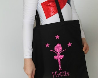 Ballerina Tote Bag,Personalised Canvas Tote Carrier,Ballet Bag,Reusable Canvas Bag,Girl's Ballet Bag,Dance Bag,Black Canvas Tote,Girl's Gift
