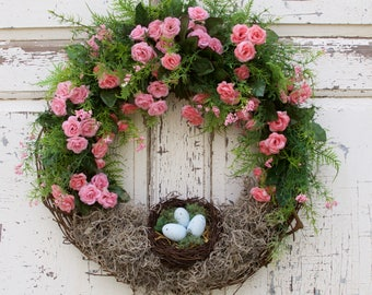 Robin's egg Wreath, Spring Wreath, Mother's Day Wreath, Natural Wreath, Roses Wreath, Romantic Wreath, Bird's Nest Wreath, Cottage Chic