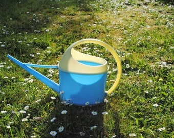 Watering can blue and yellow plastic 1950