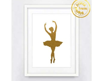 Printable wall art Digital Prints ballerina gold modern wall art printable art, printable prints