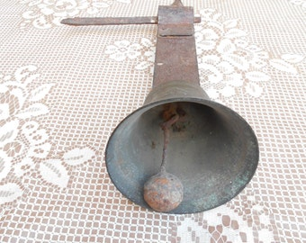 Vintage Metal Bell - Wall spiked - Spring operated