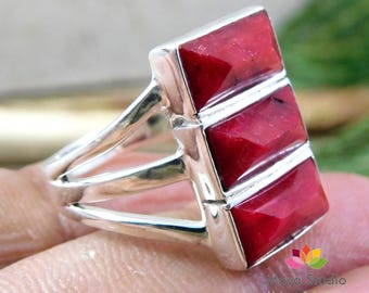ruby silver ring, three stone ring, blood ruby gemstone, pyramid gemstones, 925 sterling silver, red ruby rings, gift Ring size 4 to 12 US