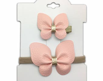 Faux Leather Butterfly Headband and Hair Clip Set, Nylon Headband, Hair Clip, Dainty Headband.