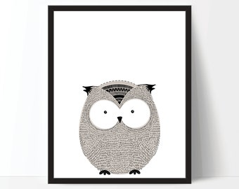 Nursery Art, Nursery Printable, Childrens Art, Owl Print, Animal Print, Scandinavian Art, Kids Art, Digital Download, Digital Print