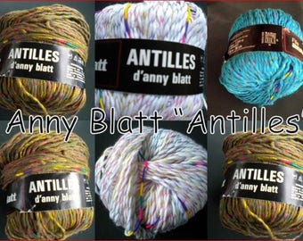 "Effect yarn ""Anny sheet"" brand ""Antilles"" structured colorful snakes color choice vintage retro"